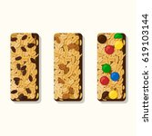 set of vector granola bars with ... | Shutterstock .eps vector #619103144