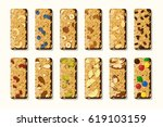 set of vector granola bars with ... | Shutterstock .eps vector #619103159