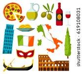 italy icons set. italian...   Shutterstock .eps vector #619108031