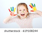 cute cheerful kid girl showing... | Shutterstock . vector #619108244