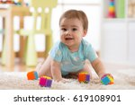 crawling funny baby boy with... | Shutterstock . vector #619108901