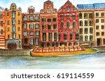 netherlands. watercolor... | Shutterstock . vector #619114559