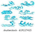 decorative blue sea waves and... | Shutterstock .eps vector #619117415