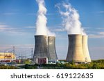 nuclear power plant at day   Shutterstock . vector #619122635