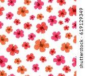 tropical flower seamless... | Shutterstock .eps vector #619129349