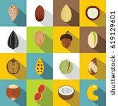 nuts icons set. flat... | Shutterstock .eps vector #619129601