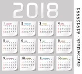 simple 2018 year vector... | Shutterstock .eps vector #619129991
