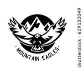 monochrome logo  eagle flying... | Shutterstock .eps vector #619132049