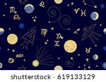 zodiac sky. abstract seamless... | Shutterstock .eps vector #619133129