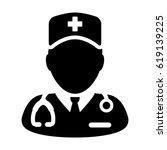 nurse icon   vector medical... | Shutterstock .eps vector #619139225