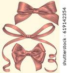 pink bows. design set. hand... | Shutterstock .eps vector #619142354