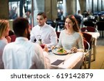 two positive couples sitting at ... | Shutterstock . vector #619142879
