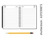 vector illustration open diary  ... | Shutterstock .eps vector #619150871