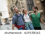 happy group of students on... | Shutterstock . vector #619158161
