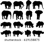 african elephant and black... | Shutterstock .eps vector #619158875