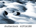 Stream Flowing Fast Over Rocks