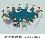 round big table talks. team... | Shutterstock .eps vector #619164071