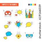 color set of vector super hero... | Shutterstock .eps vector #619166039