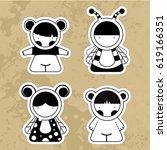 cartoon cute monsters. | Shutterstock . vector #619166351