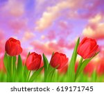 Red Tulips With Green Leaves A...