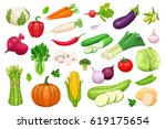 vector vegetables icons set in... | Shutterstock .eps vector #619175654
