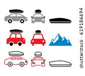 car roof box  roof rack or... | Shutterstock .eps vector #619186694