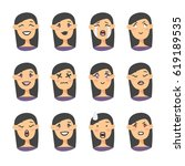 set of emoji character. cartoon ... | Shutterstock .eps vector #619189535