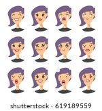 set of emoji character. cartoon ... | Shutterstock .eps vector #619189559