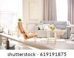 modern interior of cozy living... | Shutterstock . vector #619191875