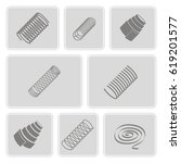 set of monochrome icons with... | Shutterstock .eps vector #619201577