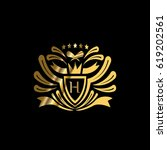 luxury vector golden blazon.... | Shutterstock .eps vector #619202561
