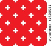 seamless plus pattern on red... | Shutterstock .eps vector #619205381