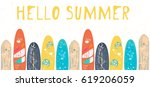 vector hello summer poster... | Shutterstock .eps vector #619206059
