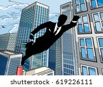 a superhero business man flying ... | Shutterstock .eps vector #619226111