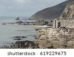 the harbour at portwrinkle ... | Shutterstock . vector #619229675