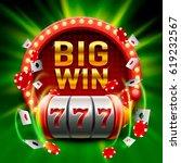 Big win slots 777 banner casino. Vector illustration  - stock vector