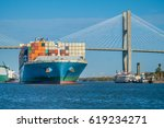 huge container ships pass under ...