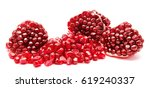 ripe pomegranate fruit seeds... | Shutterstock . vector #619240337