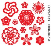 red paper cut flowers china... | Shutterstock .eps vector #619243154