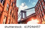 brooklyn bridge seen among city ... | Shutterstock . vector #619246457