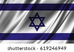 realistic flag of israel on the ... | Shutterstock . vector #619246949