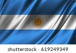 realistic flag of argentina on... | Shutterstock . vector #619249349
