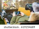 senior man using virtual... | Shutterstock . vector #619254689