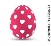 pink easter egg with white... | Shutterstock .eps vector #619260185