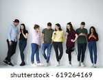 full length portrait of group... | Shutterstock . vector #619264169