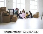 team of coworkers working... | Shutterstock . vector #619264337