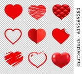 hearts set | Shutterstock . vector #619269281