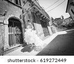 beautiful bride posing in... | Shutterstock . vector #619272449