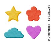 plasticine heart  cloud  flower ... | Shutterstock .eps vector #619281269