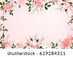 greeting card with roses ... | Shutterstock .eps vector #619284311